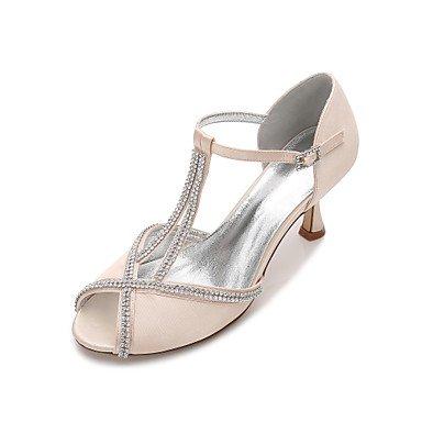 RTRY Las Mujeres'S Wedding Shoes Confort Satin Primavera Verano Boda Vestido De Noche &Amp; Rhinestone Bowknot Champán Heelivory Plana Rubí Azul US10.5 / EU42 / UK8.5 / CN43