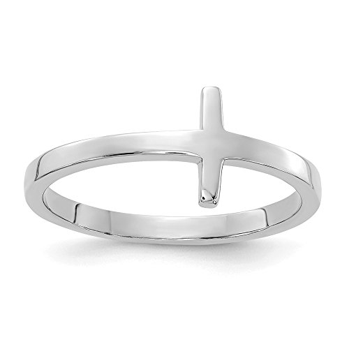 14k White Gold Sideways Cross Religious Band Ring Size 7.00 Fine Jewelry Gifts For Women For Her