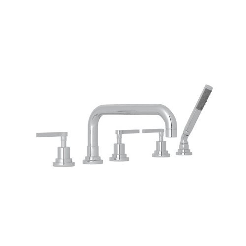 Rohl A2224LMAPC Lombardia Bath Five Hole Deck Mounted Tub Filler with U Spout Metal Lever Handles Diverter and Handshower, Polished Chrome by Rohl