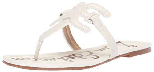 Flat White Sam Carter Leather Bright Sandal Women's Edelman BxFFwrqYt