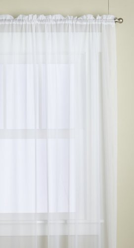 Lorraine Home Fashions Monte Carlo Super Wide Tailored Window Panel, 120 by 72-Inch, Snow White, Set of 2 (Sheer Curtain Tailored Panel)