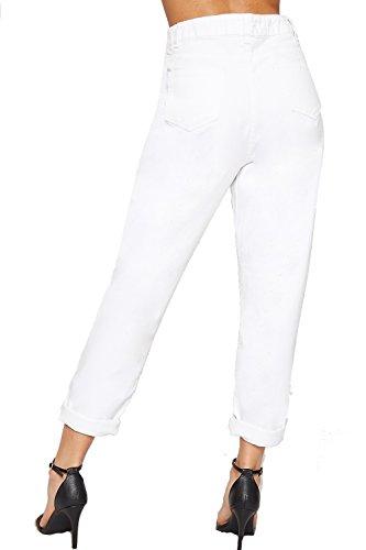 En Bouffant 44 Femmes Dames lev Jeans Taille Pantalon Nouveau Pantalon Poche Haut Blanc 34 Maman WEARALL Tour UdXwXZ