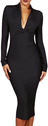 whoinshop Women 's Draped Deep Plunged Long Sleeve Night Out Club Cocktail Party Dresses with Knee Length