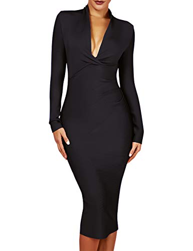 UONBOX Women's Deep Plunge V Neck Long Sleeves Draped Knee Length Bodycon Bandage Dress (L, Black)