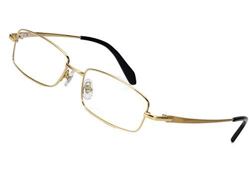 Agstum Titanium Full Rim Glasses Frame Optical Eyeglasses Rxable (Small Gold, Non-Prescription Clear ()