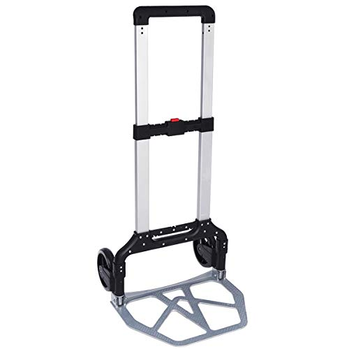 KingSo Folding Hand Truck Heavy Duty 330-lb Capacity Portable Aluminum Alloy Cart and Dolly for Luggage Travel Office Auto Moving, PVC Wheels with Double Bearings and Adjustable Handle