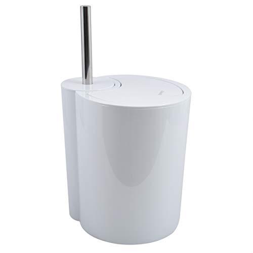 Spirella Moon Toiletborstel en afvalemmer 2-in-1 | Toiletborstel cosmetica-emmer 6 liter met ring voor het onzichtbaar…