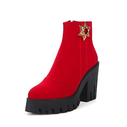 AllhqFashion Damen Eingelegt Nubukleder Hoher Absatz Reißverschluss Stiefel, Rosa, 40