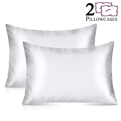 - Furnishop 2 Pack Standard Silky Satin Pillowcase for Hair and Skin, Facial Beauty Hypoallergenic, Super Soft and Luxury Pillow Cases Covers with Envelope Closure (Standard: 20x26, White)