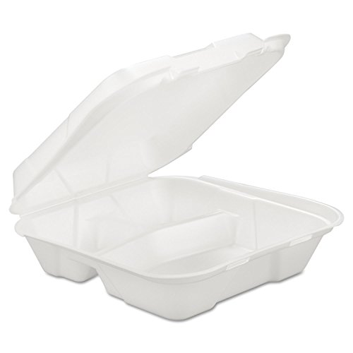 3 Comp Foam - GEN - Foam Hinged Carryout Container, 3-Comp, White, 9 1/4 X 9 1/4 X 3, 200/carton ( GENHINGEDL3 ) ( HINGEDL3 )