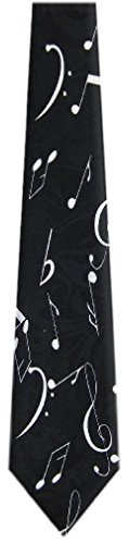 Musical Notes Mens Necktie (MN-306 - Mens Novelty Musical Notes Necktie - Black White)