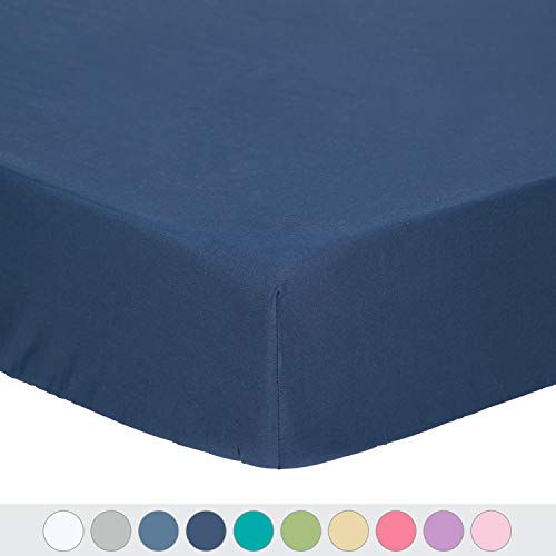 TILLYOU Microfiber Silky Soft Crib Sheet Navy, Hypoallergenic Breathable Fitted Toddler Mattress Sheets, 28