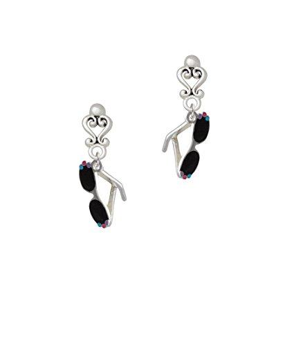 3-D Black Sunglasses - Filigree Heart Earrings