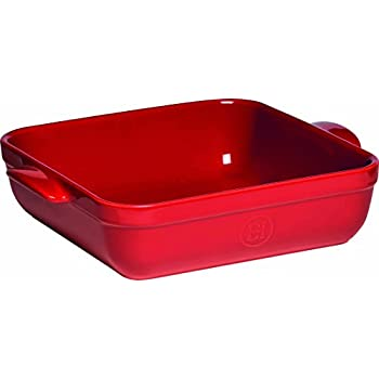 "Emile Henry Made In France 10""x10"" Square Baking Dish, Burgundy Red"