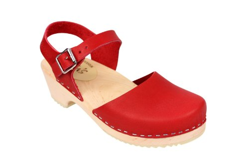 Lotta From Stockholm Low Wood Clogs in Red EUR