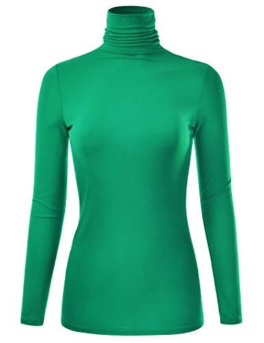 (EIMIN Women's Long Sleeve Turtleneck Lightweight Pullover Slim Shirt Top KellyGreen)