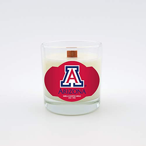 Worthy Promo NCAA Arizona Wildcats Vanilla 6 oz Soy Wax Candle with Quietly Crackling Wood Wick, 6-Ounce, Clear