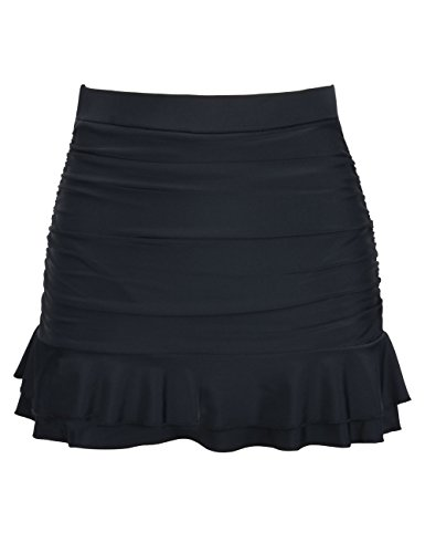 Mycoco Womens High Waist Swim Skirt Bikini Bottom Ruffle Hem Swim Bottom Tankini Black 8