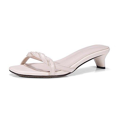 GJDE Verano Zapatos Casuales Sandalias y Zapatillas con Cabeza Cuadrada arco Grueso con meters white