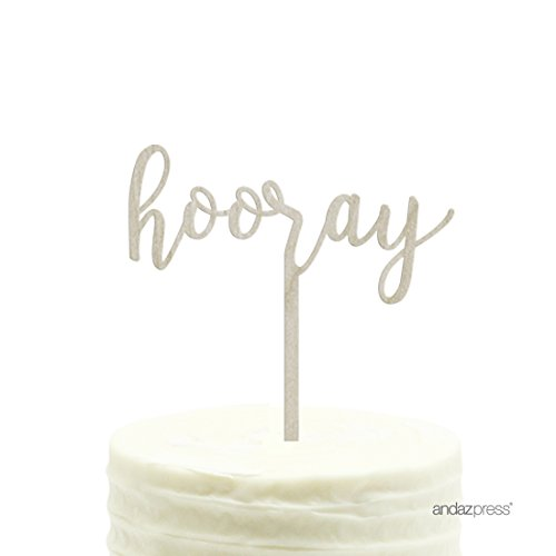 Andaz Press Party Wood Cake Toppers, Hooray, 1-Pack, High School College University Graduation Decor Decorations -