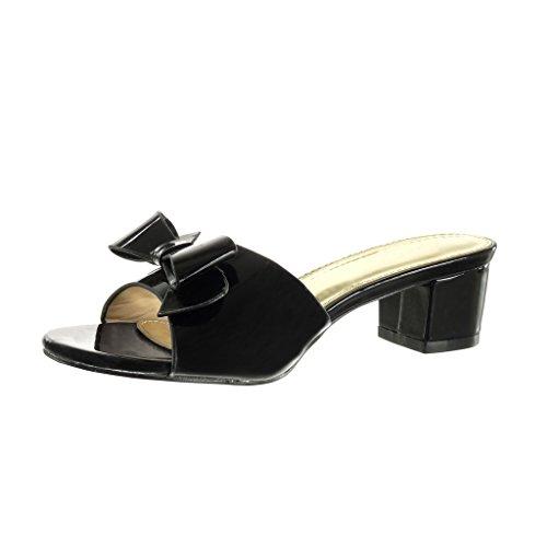 Angkorly - Scarpe da Moda sandali Mules donna papillon Tacco a blocco tacco alto 5 CM - Nero