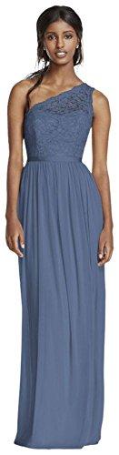 Longue Style Robe De Demoiselle D'honneur Dentelle Épaule F17063 Bleu Acier