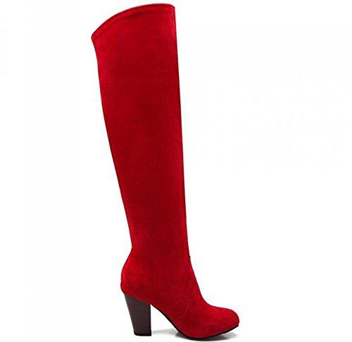 Beauqueen Suede sobre la rodilla Botas altas Ronda-Toe Chunky alto talón Partido Caliente invierno Femenino Botas Gris Azul Rojo Negro Personalizado Europa Tamaño 34-43 Red