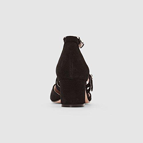 La Redoute Collections Womens Leather Multi-Strap Ballet Pumps Black oXuuxBJD