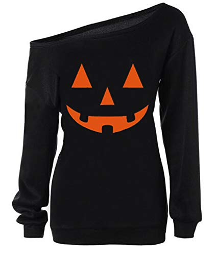 GSVIBK Womens Halloween Sweatshirts Halloween Pumpkin Face Long Sleeve Sweatshirts Off Shoulder Halloween Shirts 97-Black S