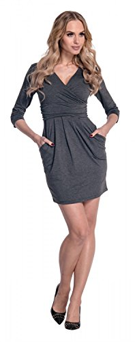 Glamour Empire. Mujeres Con cuello en V vestido de lápiz con bolsillos 236 Grafito Mezcla