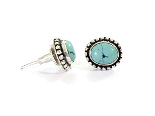 8 X 10 MM NATURAL TURQUOISE GEMSTONE STUD EARRINGS FOR WOMEN & GIRLS OVAL SHAPE MODERN FASHION EARRINGS OXIDIZED SILVER BLUE COLOUR BOHO EARRINGS WITH PUSHBACK CLOSURES HANDMADE BY TIBETAN SILVER