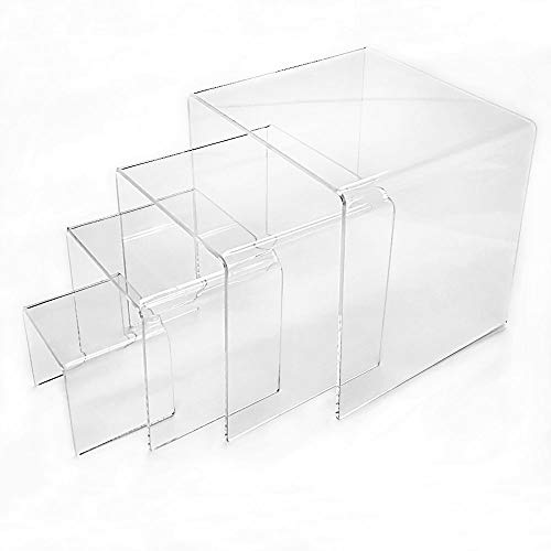 Mirart Clear Acrylic Display Risers-Set of Four (2 inch, 3 inch, 4 inch and 5 inch)