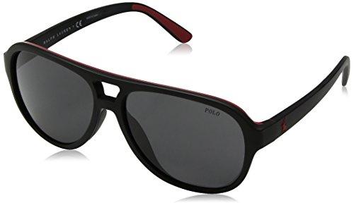 Polo Ralph Lauren Men's Injected Man Sunglass Aviator, MATTE BLACK RED RUBBER, 58 ()