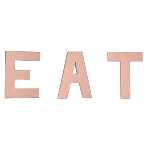 DIY Craft - Kitchen Wall or Shelf Decor - Unfinished Paper Mache Letters EAT - 3 Piece Bundle - Large 12 Inch Each