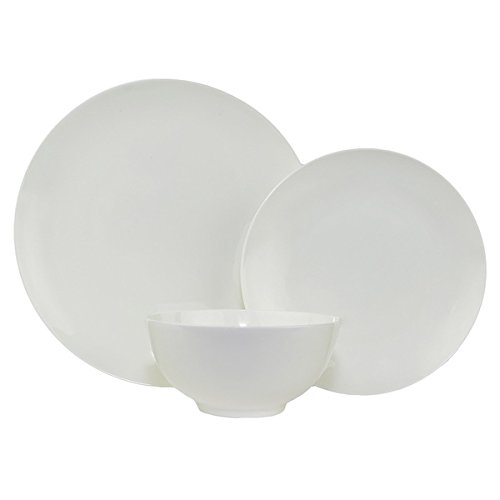 Pure Vanilla Coupe White 18-piece Bone China Dinner Set (Bone Coupe China)