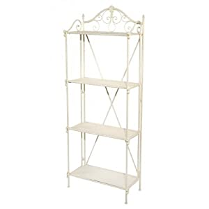 distress painted ivory white vintage shabby chic style french wrought iron metal floor standing bathroom shelves