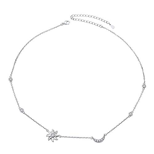 YinShan Dainty S925 Sterling Silver Jewelry Sun Moon and Star Choker Necklace Chain ()