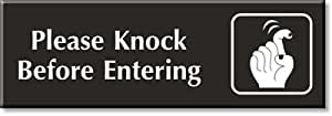 "Please Knock Before Entering (with Graphic), Indoor Engraved Plastic Sign, 9"" x 3"""