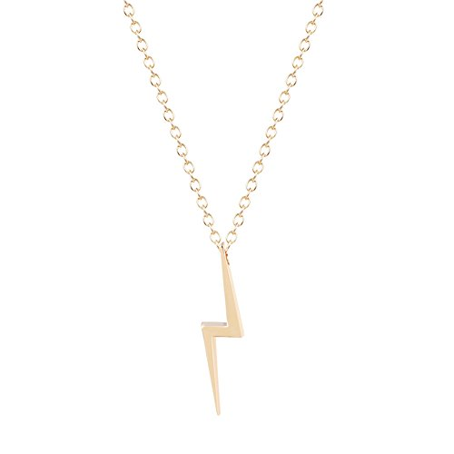 18K Gold Plated Smooth Flash Lightning Charm Pendant Necklace
