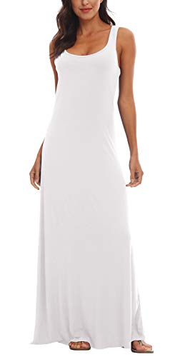 (Urban CoCo Women's Floral Print Sleeveless Tank Top Maxi Dress (XL, White) )