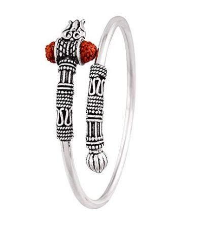 Avni Creation German Silver Shiva Trishul Damru Antique Vintage Ethnic Free Size Unisex Kada Bangle Women & Men product image