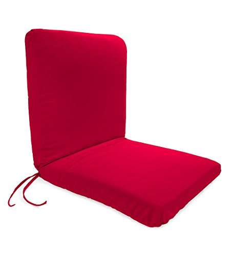 Plow & Hearth Classic Polyester Outdoor Chair Cushion with Ties, Seat 19'' x 17'' x 2.5''; Back 19'' x 19'' x 2.5'' - Barn Red