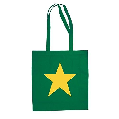 Baumwolltasche STERN Jutebeutel Tasche lange Henkel Einkaufsbeutel Grün