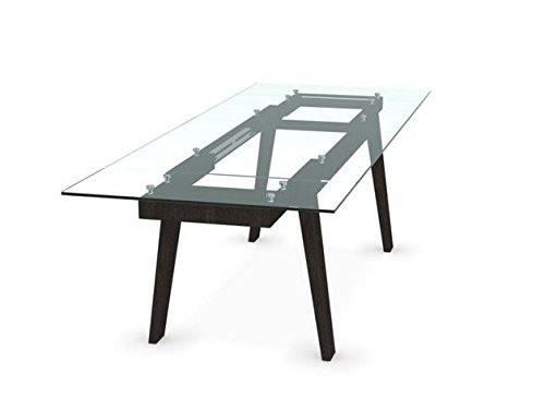 Calligaris Exquisite Maestro smoke grey glass, graphite legs extending dining table by Italian design.