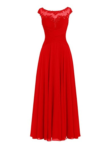 A Linie Brautjungfernkleider Lang Rot Hochzeitskleider Abendkleider Ballkleider Chiffon tqHTXEKw