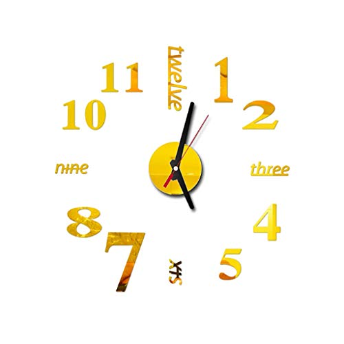 Konxxtt Wall Stickers Clock, Modern DIY Wall Clock 3D Mirror Frameless Sticker Home Office Decor Gift(Gold,Diameter 15.7