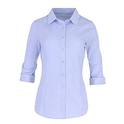 Pier 17 Women's Button Down Shirts Tailored 3/4 Sleeve Shirt, Stretchy Material
