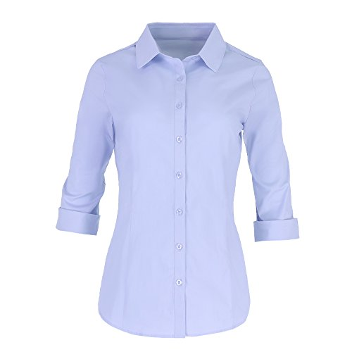 Pier 17 Button Down Shirts For Women by Tailored, 3/4 Sleeve Shirt With Stretch - Semi Fitted For Slim, Fit Look - 97% Cotton and 3% Spandex - Lightweight and Soft Materials (1XL, Blue) Tailored Ladies Shirt