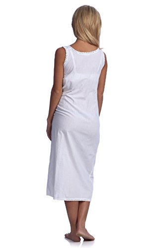 Handmade Women's Smock Tatting Lace Full-length Nightgown White, 4 Sizes