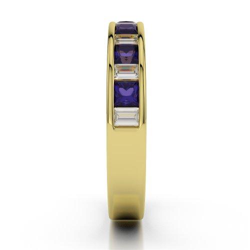 Or jaune 18carats 0,59CT G-H/VS Certifié Coupe ronde tanzanite et diamants Agdr-1143